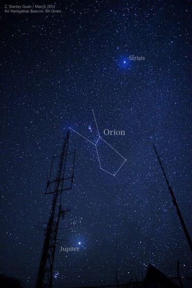 Orion, Sirius and Jupiter